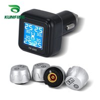 Wholesale auto tire pressure monitor - Smart Car TPMS Tire Pressure Monitoring System cigarette lighter Digital LCD Display Auto Security Alarm Systems Tyre Pressure