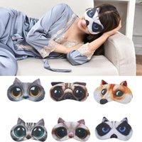 kediler göz maskesi toptan satış-Karikatür miyav yıldız siperliği 3D Seyahat uyku göz maskesi sevimli hayvan kedi uyku yama dinlenme Göz Maskesi Gölge Şekerleme Kapak Körü Körüne Gölge DHL