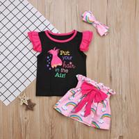 lindos trajes de niño para niñas al por mayor-2018 Girs Trolls Pipinting Skirt Outfits 3 piezas Conjuntos Arco iris Diadema + Camiseta + Bowknot Falda Cute Toddlers Niñas Ropa 1-5T
