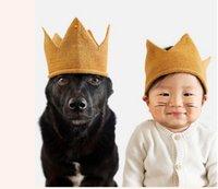 bebek örme taç toptan satış-Moda Renkli Bebek Yenidoğan Fotoğraf Sahne Çocuklar Kapaklar Bebek Taç Örme Kafa Şapka Fotoğraf Aksesuarları Doğum Günü Kap