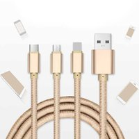 микро оплетки продажа оптовых-Горячие продажи многофункциональный Тип C USB кабель 1.2 M 3 в 1 V8 Micro USB кабель для зарядки данных нейлон плетеный алюминиевый сплав