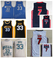 Wholesale dream school - College 33 Larry Bird Jersey 1992 USA Dream Team One 7 Larry Bird Basketball Jerseys Springs Valley Indiana State Sycamores High School