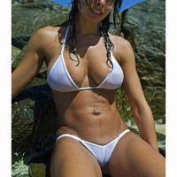 ingrosso costume da bagno trasparente-Bikini in microfibra trasparente con micro bikini 2018 Bikini velati brasiliani Swim Lingerie Swimwear Costume da bagno donna