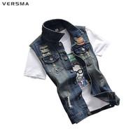 Wholesale White Motorcycle Vest - VERSMA Mens Denim Vest Men Colete Masculino Denim Vests Men Sleeveless Jacket Motorcycle Vest Mens Waistcoats Vests & Waistcoats