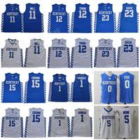 camisas de basquete azul venda por atacado-Kentucky Wildcats Jersey College Basquete Devin Booker John Wall Anthony Davis Cidades de Karl-Anthony DeMarcus Primos Malik Monk Fox Blue Men