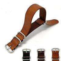 коричневый кожаный браслет оптовых-18 20 22 мм черный коричневый натуральная кожа наручные часы Zulu ремешок ремешок браслет стальная пряжка