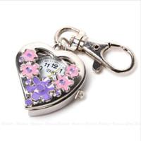 coração de bolso de aço venda por atacado-O relógio de quartzo da forma do coração floresce a corrente de aço inoxidável da porta-chaves de relógios de bolso