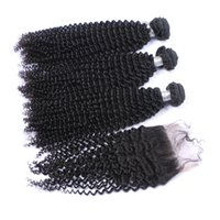 афроизвержение оптовых-Afro Kinky Curly Virgin Hair Weft With Closure 4x4 4Pcs Lot Kinky Curly Clace Pieces 4x4 с наборами волос