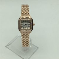 Wholesale lady small watch - Fashion Lady Quartz Watch Elegant Women Dress Relogio Famous Luxury Brand Rosegold Stainless Steel Gold Wristwatches Small Square watches