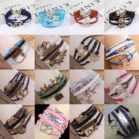Wholesale Infinity Rudder Anchor Charm Bracelets - Mix Rudder Anchor Charm Bracelets Antique Infinity Bracelets 36 styles fashion Multilayer Leather Bracelets Heart Tree of Life Love Jewelry