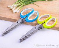 Wholesale knife paper cutting - Stainless Steel Scissor 5 Layers Cutter Chopped Green Onion Cut Scissors Cooking Tool Multifunctional Kitchen Knives Paper Shredder Scissors
