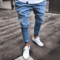 projeto novo do vestido dos homens venda por atacado-Tendência biker mens rasgado Skinny Jeans projetos para verdadeira marca religiosa hip hop Homem Moda Fechar 2018 New Dress Europe Station
