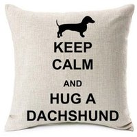 Wholesale hug pillow for sale - Group buy New Design Hug A Dachshund Cushion Covers Christmas Love Heart Satr Wiener Dog Cat Pillow Cover Beige Linen Pillow Case Bedroom