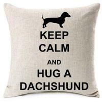 bej yastıklar toptan satış-Yeni Tasarım Hug Bir Dachshund Yastık Kapakları Noel Aşk Kalp Satr Wiener Köpek Kedi Yastık Kapak Bej Keten Yastık Kılıfı yatak odası