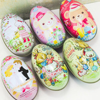 Wholesale bunny tin - Easter Egg Shape Candy Boxes Bunny Bear Groom Bride Pattern Organizer Practical Storage Tin Box High Quality 2 3im B