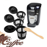Wholesale coffee box set - Refillable Reusable Coffee Filter Stainless Mesh Black Pattern 3PCS Set Filter Pod Mesh With Spoon DDA92