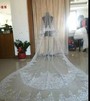 Wholesale cheap cathedral veils rhinestones - Best Selling Ivory White Wedding Veils 3 Meters Long Veils Lace Applique Crystals Two Layers Cathedral Length Cheap Bridal Veil Real Image
