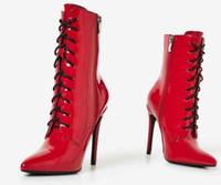 nueva patente de encaje hasta el tobillo al por mayor-2018 nuevas mujeres botas rojas zip up mujeres botines de tacón delgado botas de charol de las señoras punta de punta botas negras con cordones botas