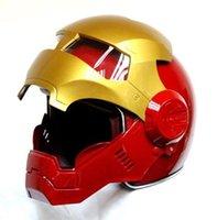 xxl scooter kaskları toptan satış-Masei bisiklet scooter moto Kırmızı altın Klasik demir adam kask motosiklet kask yarım açık yüz casque motocross