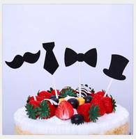 pajarita baby shower al por mayor-Little Man Cupcake Toppers Bigote pajarita Cake Topper Boy fiesta de cumpleaños Baby Shower Gender Reveal Cake Decoration