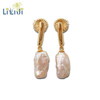 Wholesale pink real pearls earrings - LiiJi Unique Real Pink Rainbow Baroque Pearl 925 Sterling Silver Gold Color Earrings Women Fashion Jewelry