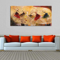Wholesale ballet dancer paintings resale online - Hand Painted Abstract Ballet Dancer Oil Painting on Canvas Modern Home Decor Abstract Decorative Wall Pictures Painting Art
