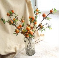 fruit drying NZ - Pomegranate fruit branches High quality simulation dry branches artificial silk flowers for wedding home party decoration 45121
