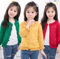 Wholesale White Ruffle Cardigan - Girls knitting cardigan spring autumn children ruffle long sleeve knitting outwear kids crochet hollow sweater green mustard white A00388
