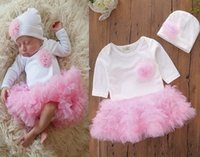 597bc59ee5b3 2018 fashion baby girls boutique fall clothing flower baby rompers pink  ruffle tutu jumpsuits long sleeve bodysuits + hat newborn onesies