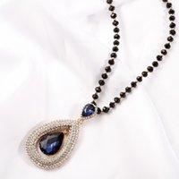 schwarzer wassertropfen anhänger großhandel-Vintage Ethnic Water Drop Schwarz Perlen Kette Lange Halsketten Anhänger Für Frauen Neue Pullover Halskette Schmuck Zubehör