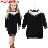 Wholesale 2t Sweater Dress - MORENNA 2018 Girls Sweater Dress Lace False Harness Black White Stitching Classic Fashion Long Sleeves Brand Kids Clothes