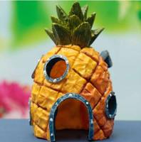 ingrosso pesce giallo del serbatoio-Acquario Decorazione Paesaggio Vivid Carino Resina Ornamento casa di ananas Simulazioni Decoraton per acquario Fish Tank Giallo