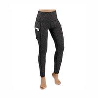 pantalones ajustados de talle alto al por mayor-2018 Pantalones de yoga con bolsillos para mujeres Pantalones de gimnasia sólidos de talle alto para correr Pantalones de yoga largos elásticos Bolsillos de tamaño EE. UU. S-XL