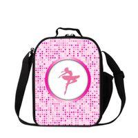 cajas de almuerzo aisladas rosadas al por mayor-Pink Ballet Dancing Girls Lonchera para Sports Square Bolsa aislante Cooler School Lunch Bag para niñas Small Messenger Lunch Container Kids