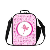 Wholesale Girls Pink Ballet Bag - Pink Ballet Dancing Girls Lunch Box for Sports Square Insulated Cooler Bag School Lunch Bag for Girls Small Messenger Lunch Container Kids