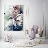 украшения для плакатов оптовых-Decoration Abstract Bloom Peony Nordic Wall Art Canvas Poster and Print Flower Canvas Painting Picture for Living Room Decor