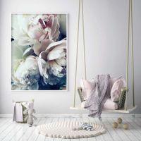 blumenbilder für die malerei großhandel-Dekoration Abstrakte Blüte Pfingstrose Nordic Wandkunst Leinwand Poster und Druck Blume Leinwand Malerei Bild für Wohnzimmer Dekor