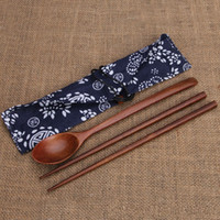 Wholesale portable spoon resale online - Healthy Fashion Travel Chopsticks And Spoon Suit Wood Antiseptic Portable Tableware Party Favor Gift Kitchen Accessories tr Ww