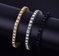 brazaletes de oro al por mayor-5MM Iced Out 1 Row Rhinestones Pulsera Hip Hop Style de los hombres Clear Simulated Diamond Bracelet Bling Jewelry Bangles Gold Silver Black