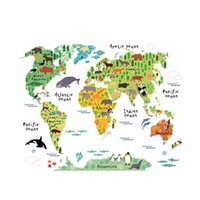 Wholesale world map sticker decal - Colorful Animal World Map Wall Sticker Home Decal for Kids Baby Room Living Room Decal Mural Art Diy Wall Art Decoration