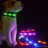 ingrosso cani leggeri-A26 Collare per cani Collare per cani luminoso Collare per cani in nylon Night Safety Glow Flashing Light Up Luminous