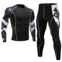 medias de impresión muscular al por mayor-Los más nuevos conjuntos de compresión de la aptitud de la camiseta de los hombres 3D impreso MMA Crossfit Muscle Shirt Leggings capa base apretados Tops