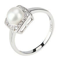 Wholesale sterling silver freshwater pearl ring - Shiny Square 1 Piece 925 Pure Sterling Silver 6.5-7mm Freshwater Bread Pearl Ring for Wedding