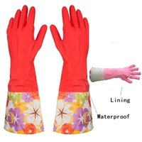 Wholesale waterproof dishwashing gloves for sale - Group buy Red Pairs Kitchen Rubber Cleaning Gloves with Lining Household Thickening PU Waterproof Dishwashing Long Sleeve Rubber Latex Glove