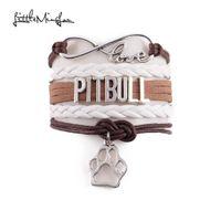 pulseira de couro do cão venda por atacado-Pouco Minglou 7 cores Infinito amor PITBULL pulseira cão de estimação encanto couro envoltório homens pulseiras pulseiras para as mulheres de jóias