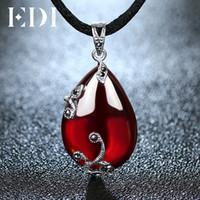 Wholesale red garnet gemstone resale online - EDI Red Garnet Gemstone Sterling Silver Pendants Necklace For Women Flower Shape Bijoux Fine Jewelry