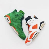 productos de calzado de calidad al por mayor-Productos calientes baratos 2018 Nuevo producto 6 Gamuza verde Gatorade Hombres Zapatos de baloncesto Gatorade de alta calidad para hombre Zapatilla de deporte Tamaño 7-13