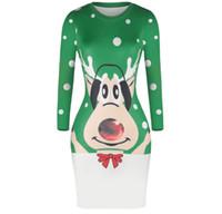 camisetas atractivas de la navidad al por mayor-Explosivo vestido de impresión digital de mucama de navidad Sexy cintura ajustada bolsa cadera falda falda al aire libre blusa camisa