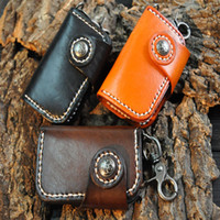 Wholesale table for cars - Fashion Soft Real Cowhide Leather Handmade Vegetable Tanned Leather Unisex Tiny Keyholder Bag Portable For Car Key Mini Bag Free DHL H22F