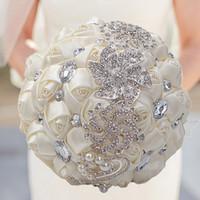ingrosso diamante fiore artificiale-18CM Nastro Fiori da sposa Raso Bouquet da sposa Ramos de novia Fiori artificiali Crystal Diamond Spilla Bouquet da sposa